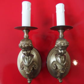 set-wall-lamp-gilt-brass-putti-20th-century