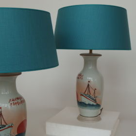 set-lampen-porselein-schip-spiegelbeeld