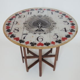 table-wood-spool-weaving-loom-clock-antique