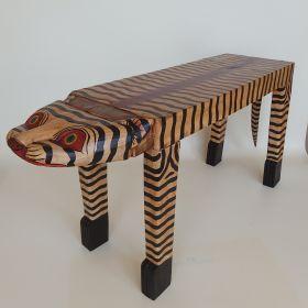 bank-hout-beschilderd-tijger