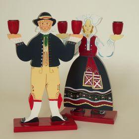 set-kaarsenstandaards-hout-beschilderd-Lizzie-Velander- Ikea-jaren-70