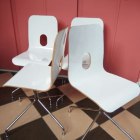set-rotatable-chairs-chrome-plywood-laminated-plastic